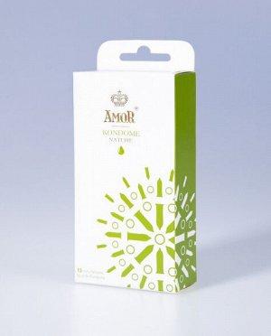 Классические презервативы AMOR Nature. Гладкие, бесцветные, без запаха (15шт)