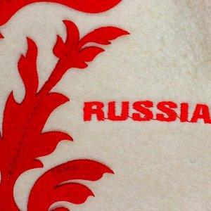 Шапка для бани RUSSIA, фетр белый    Б4551