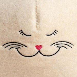 """Шапка для бани """"Кошечка"""", фетр белый"""