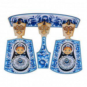 Набор досок «Хозяюшка». гжель с матрёшкой, сувенирный, 4 предмета, размер доски 17 х 28 см