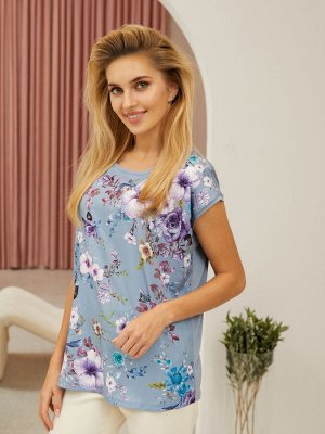 Туника (платье) жен  Floral Shadow пыльно-голубой