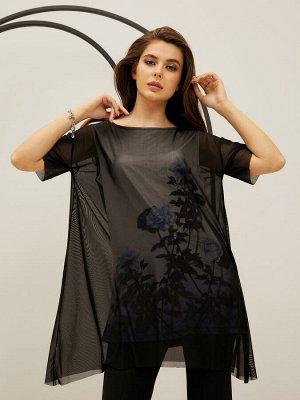 Туника (платье) жен  Floral Shadow черный