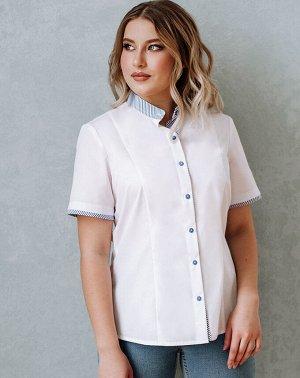 Вера Классическая блузка заиграла новыми красками благодаря яркой отделке. Из отделочной ткани в мелкую синюю полоску выполнены воротник- стойка, нижняя планка переда и низ рукава. Сорочечная ткань: 5