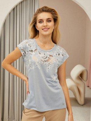 Фуфайка (футболка) жен  Floral Shadow пыльно-голубой