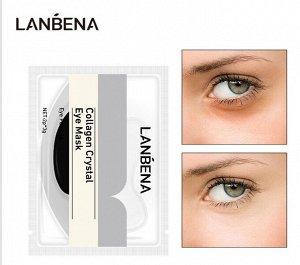 Чёрные коллагеновые патчи под глаза lanbena collagen crystal eye mask black