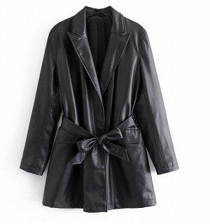 Пиджак из эко. кожи на поясе