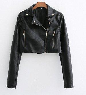 Укороченная куртка из эко. кожи