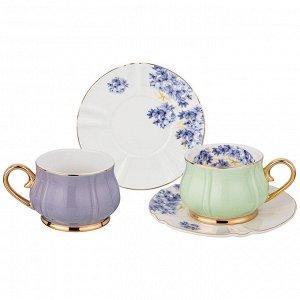 """Чайный набор на 2 персоны 4 пр. lefard """"времена года"""" 200 мл фиолетовый и мятный (кор=12наб.)"""