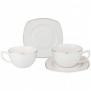 """Чайный набор на 2 персоны """"диаманд голд"""" квадрат 4 пр. 350 мл (кор=18наб.)"""