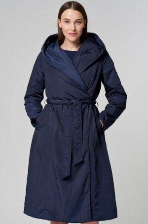 Женское пальто текстильное на синтепоне с текстильным поясом