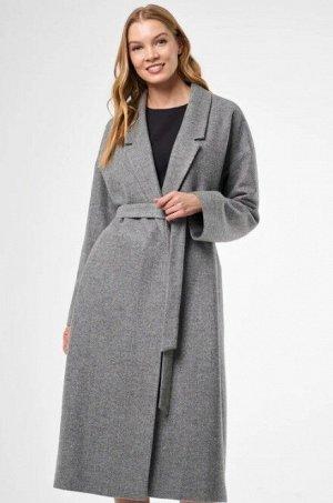 Женское пальто трикотажное с поясом из трикотажа