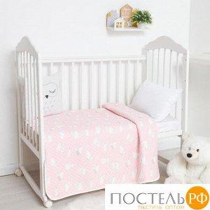 Одеяло стёганое Крошка Я «Мишка» 100х110 см, цвет розовый, 5054498