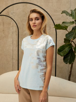 Фуфайка (футболка) жен  City time голубой меланж