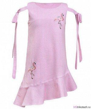 Платье Состав: 100% хлопок. Ткань: Кулирка. Платье-силуэт трапеция, без рукава с завязками на бант. Внизу косой волан, горловина и пройма обработаны обтачкой.. Гарантии цвета нет.