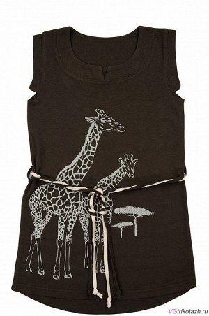 Платье Состав: 100% хлопок. Ткань: Кулирка. Классное платье в стиле сафари, с жирафами - крутой летний прикид Фигурные проймы, шлевки и поясок. Спинка удлиненная.. Гарантии цвета нет.