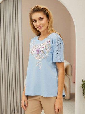 Фуфайка (футболка) жен  Floral Shadow голубой