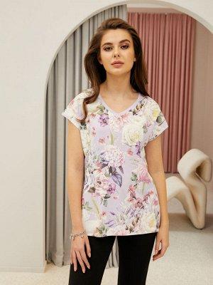 Фуфайка (футболка) жен  Floral Shadow сиреневый