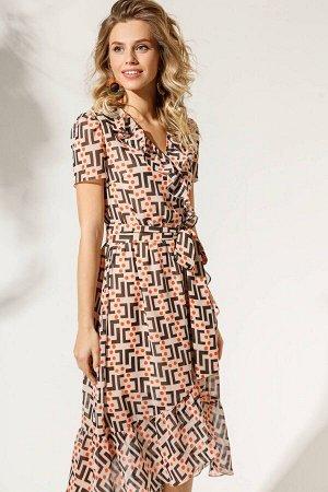 Платье Платье DI-LiA FASHION 0330 мультидизайн Состав ткани: ПЭ-100%; Рост: 170 см.  Платье женское полуприлегающего силуэта, средней длины, отрезное по линии талии, со вставкой эластичной тесьмы по ш