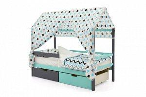 Крыша текстильная Бельмарко для кровати-домика Svogen звезды, графит, бирюза, серый