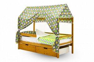 Крыша текстильная Бельмарко для кровати-домика Svogen звезды, желтый,белый, фон графит