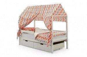 Крыша текстильная Бельмарко для кровати-домика Svogen зигзаги красный, розовый, графит, фон белый