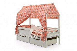 Крыша текстильная Бельмарко для кровати-домика Svogen звезды красный,белый,графит, фон розовый