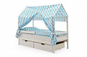 Крыша текстильная Бельмарко для кровати-домика Svogen зигзаги синий, голубой, графит, фон белый