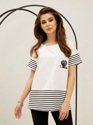 Фуфайка (футболка) жен City time черно-белый