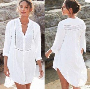 Женское платье-рубашка, белое, каскадное