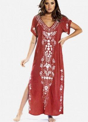 Женское платье, красное, с белой вышивкой
