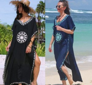 Женское платье, темно-синее, c  вышивкой