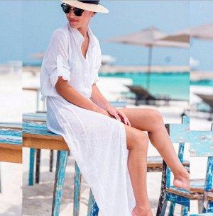 Женское платье, белое, с рукавом-сафари