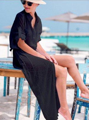 Женское платье, черное, с рукавом-сафари