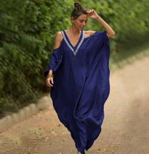 Женское платье, темно-синее, с открытыми плечами