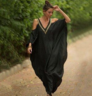 Женское платье, черное, с открытыми плечами