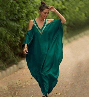 Женское платье, цвет  малахитовый зеленый, с открытыми плечами