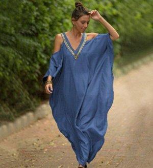 Женское платье, голубое, с открытыми плечами