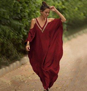 Женское платье, красное, с открытыми плечами