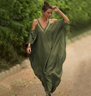 Женское платье, зеленое, с открытыми плечами