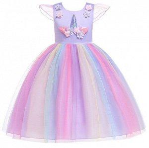"""Детское платье, фиолетовое, с разноцветной юбкой, с аппликацией """"Единорог"""""""