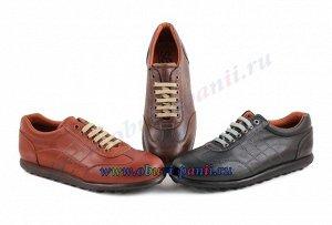 102 коричневый Casual. Мужские кроссовки. Натуральная кожа. Испания. (арт. 102)
