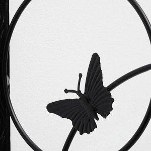 Кронштейн для кашпо, кованый, 30 см, металл, чёрный, «Бабочка»