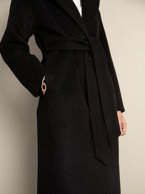 Однотонное пальто с поясом R059/gile