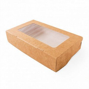 Коробка крафт с окном 12*20*4 см