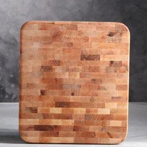 Доска торцевая разделочная, прямоугольная, 37х33х4,5 см, массив ольхи