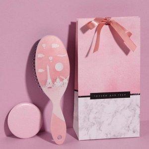 Подарочный набор «Нежнятина», 2 предмета: зеркало, массажная расчёска, цвет МИКС
