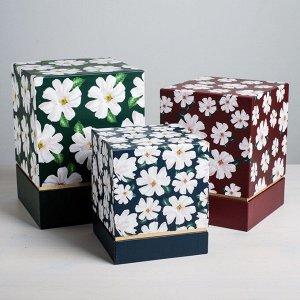 Набор подарочных коробок 3 в 1 «Цветы», 17 ? 14 ? 14?25 ? 18 ? 18 см