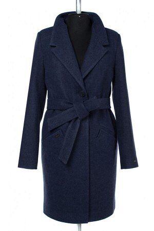 02-2922 Пальто женское утепленное (пояс) валяная шерсть сине-черный 🌀