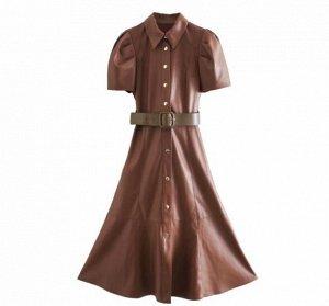 Платье из иск. кожи,коричневый