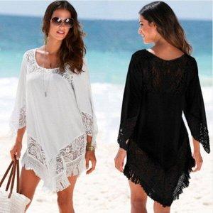 Женское платье, короткое, цвет черный, гипюровое, с бахрамой